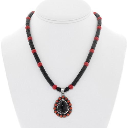 Navajo Onyx Coral Silver Pendant Bead Necklace 41353