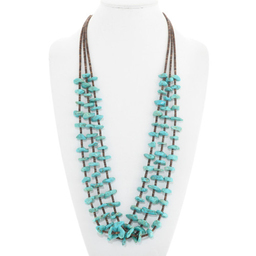 Old Pawn Turquoise Nugget Heishi Bead Necklace 41341