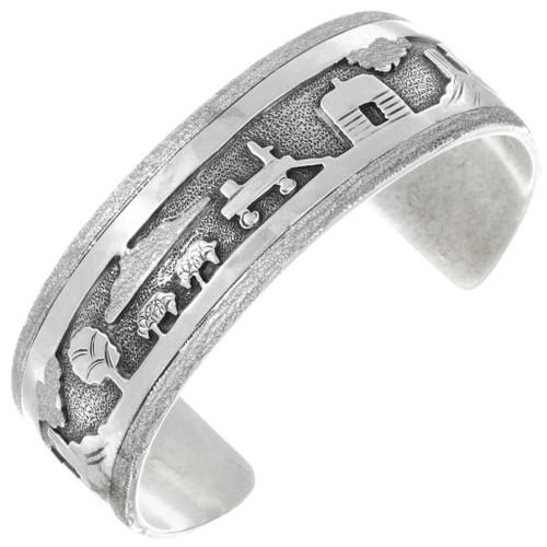 Vintage Sterling Silver Navajo Storyteller Bracelet 41525