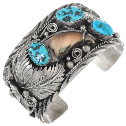 Vintage Sleeping Beauty Turquoise Navajo Bear Claw Bracelet 41526