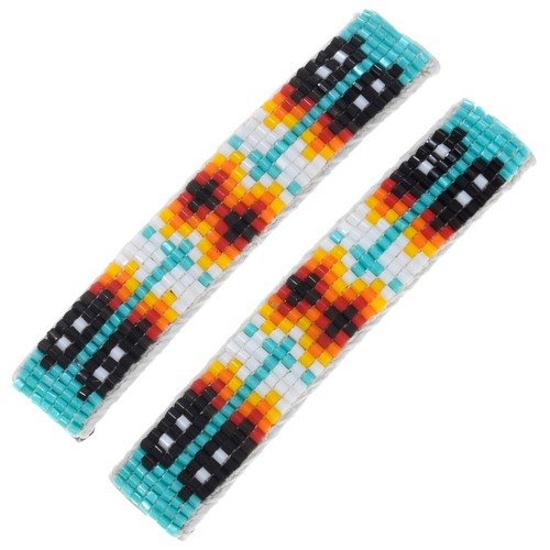 Navajo Mosaic Bead Hair Barrettes 41533