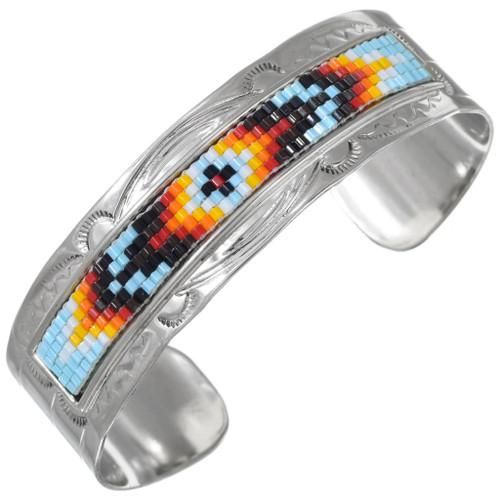 Navajo Mosaic Bead Silver Cuff Bracelet 41534