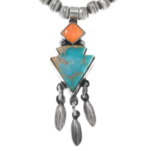 Vintage Navajo Turquoise Arrow Necklace 41548