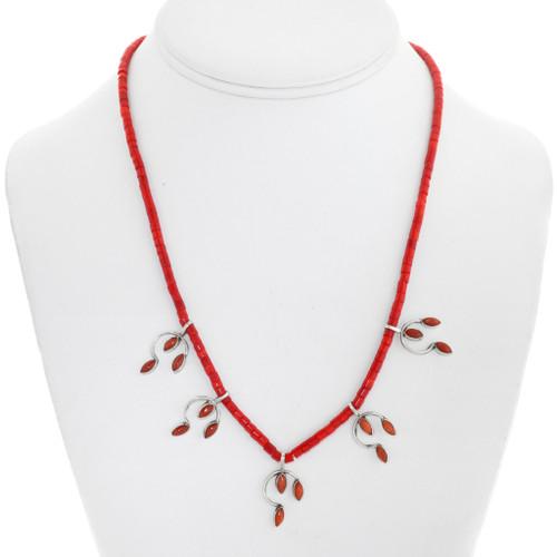 Navajo Sterling Silver Coral Heishi Necklace 41551
