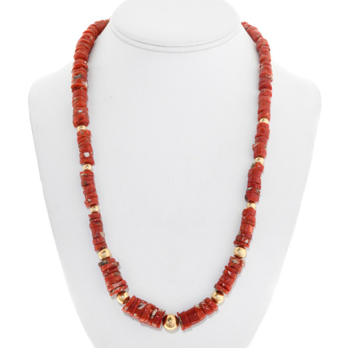 Natural Mediterranean Coral Gold Bead Necklace 41553