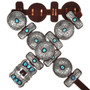 Antiqued Navajo Silver Turquoise Concho Belt 18432