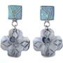 Southwest Opal Silver Cross Earrings 15114