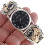 Silver Gold Onyx Mens Watch 24087