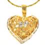 Filigree Silver Gold Heart Pendant 22780