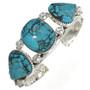Three Stone Turquoise Silver Bracelet 26658