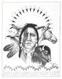 Stoic Mud Clan Warrior Wildlife Ink Drawing Print by Navajo Frankie C Nez