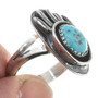 Ladies Southwest Turquoise Silver Ring 26398