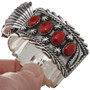 Red Coral Sterling Navajo Watch Cuff 30561
