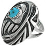 Turquoise Ladies Ring Overlaid Bear Paw 29751