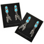 Turquoise Silver Feather Earrings 29484