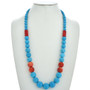 Apple Coral Turquoise Magnesite Necklace 29739