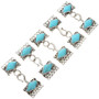 Sterling Silver Turquoise Five Strand Necklace Hook and Eye Set 0058