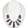 Purple Silver Bead Tab Necklace 29306