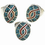 Inlaid Turquoise Coral Mens Rings 27391