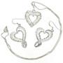 Filigree Heart Silver Pendant Set 22786
