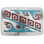 Inlaid Silver Turquoise Coral Belt Buckle 24352