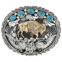 Gold Buffalo Turquoise Belt Buckle 17437