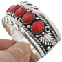 Southwest Red Coral Sterling Bracelet 10960