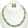 Gaspeite Opal Inlaid Sterling Necklace Set 29679