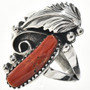 Mediterranean Coral Native American Ring 24949