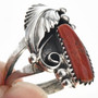 Ladies Coral Silver Ring 24949
