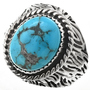 Turquoise Mountain Navajo Mens Ring 29681