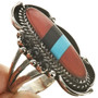 Inlaid Coral Turquoise Ring 28807