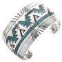 Inlaid Turquoise Coral Silver Navajo Cuff 28881