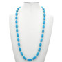 Turquoise Silver Necklace 33 Inches Long 29693
