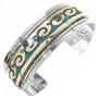 Navajo Inlaid Gold Silver Turquoise Cuff 13226