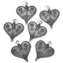 Sterling Silver Filigree Heart Charm Bracelet Charm Pendant Necklace