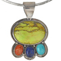 Turquoise Lapis Sterling Navajo Pendant 29563