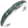 Inlaid Turquoise Silver Navajo Bracelet 29658