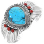 Turquoise Coral Silver Bracelet 24857