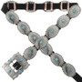 Navajo Turquoise Silver Concho Belt 19288
