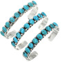Southwest Hammered Silver Turquoise Cuff 25654