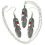 Silver Feather Pendant Earring Set 29706