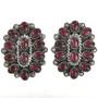 Garnet Cluster Silver Earrings 28847