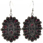 Garnet Cluster French Hook Earrings 28845