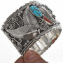 Turquoise Coral Silver Mens Cuff 28890