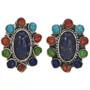 Turquoise Lapis Shell Post Earrings 29180