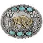 Gold Buffalo Turquoise Belt Buckle 23844