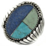 Turquoise Lapis Silver Mens Ring  28605