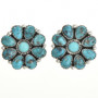 Turquoise Cluster Silver Post Earrings 29098
