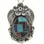 Inlaid Native American Silver Pendant 29043